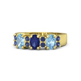 Oval Blue Sapphire 14K Yellow Gold Ring with Blue Sapphire and Blue Topaz