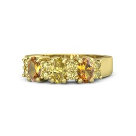 Oval Yellow Sapphire 14K Yellow Gold Ring with Yellow Sapphire and Citrine