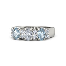 Oval Diamond 18K White Gold Ring with Diamond and Aquamarine