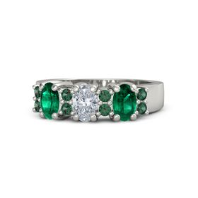 Oval Diamond 18K White Gold Ring with Alexandrite and Emerald