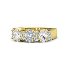 Oval Diamond 18K Yellow Gold Ring with Diamond and White Sapphire