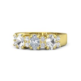 Oval Diamond 18K Yellow Gold Ring with White Sapphire and Rock Crystal