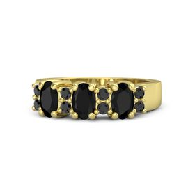 Oval Black Onyx 18K Yellow Gold Ring with Black Diamond and Black Onyx