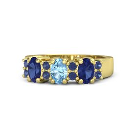 Oval Blue Topaz 18K Yellow Gold Ring with Blue Sapphire