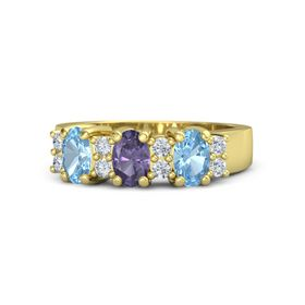 Oval Iolite 18K Yellow Gold Ring with Diamond and Blue Topaz