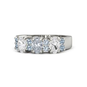 Oval Diamond Palladium Ring with Blue Topaz and White Sapphire