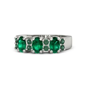 Oval Emerald Palladium Ring with Alexandrite and Emerald