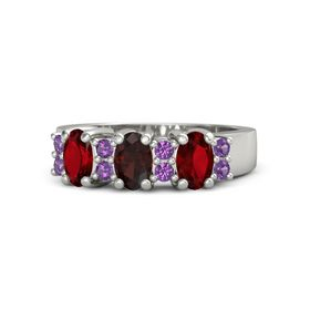 Oval Red Garnet Palladium Ring with Amethyst and Ruby