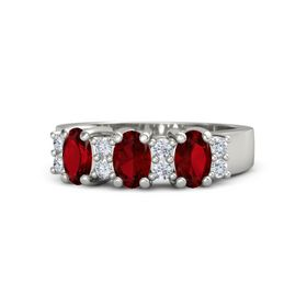 Oval Ruby Palladium Ring with Diamond and Ruby