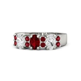 Oval Ruby Palladium Ring with Ruby and White Sapphire