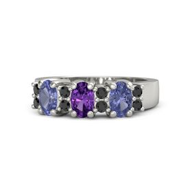 Oval Amethyst Platinum Ring with Black Diamond and Tanzanite