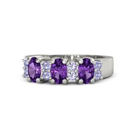 Oval Amethyst Platinum Ring with Tanzanite and Amethyst