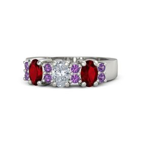 Oval Diamond Platinum Ring with Amethyst and Ruby