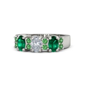 Oval Diamond Platinum Ring with Emerald