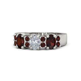 Oval Diamond Platinum Ring with Red Garnet