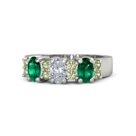 Oval Diamond Platinum Ring with Peridot and Emerald