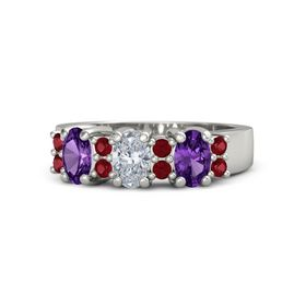 Oval Diamond Platinum Ring with Ruby and Amethyst
