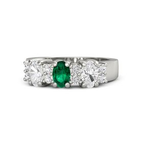 Oval Emerald Platinum Ring with White Sapphire