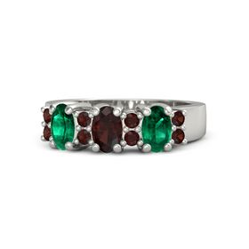 Oval Red Garnet Platinum Ring with Red Garnet and Emerald