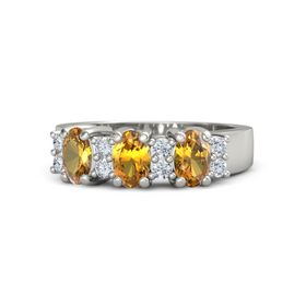Oval Citrine Platinum Ring with Diamond and Citrine