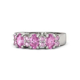 Oval Pink Sapphire Platinum Ring with Pink Sapphire