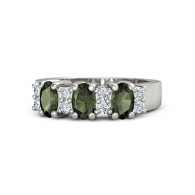 Oval Green Tourmaline Platinum Ring with Diamond and Green Tourmaline