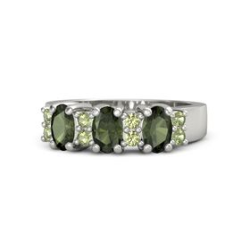 Oval Green Tourmaline Platinum Ring with Peridot and Green Tourmaline