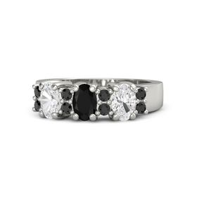 Oval Black Onyx Platinum Ring with Black Diamond and White Sapphire
