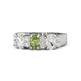 Oval Peridot Platinum Ring with White Sapphire