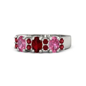 Oval Ruby Platinum Ring with Ruby and Pink Tourmaline