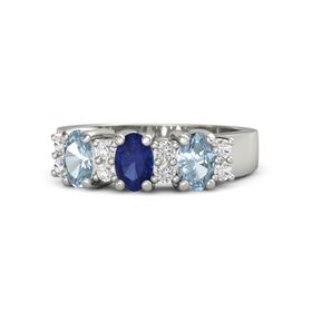 Oval Blue Sapphire Platinum Ring with White Sapphire and Aquamarine