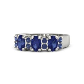 Oval Sapphire Platinum Ring with Sapphire