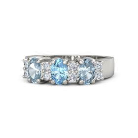 Oval Blue Topaz Platinum Ring with Diamond and Aquamarine