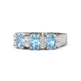 Oval Blue Topaz Platinum Ring with White Sapphire and Blue Topaz