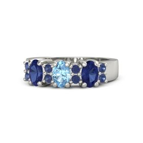 Oval Blue Topaz Platinum Ring with Sapphire