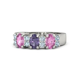 Oval Iolite Platinum Ring with Aquamarine and Pink Sapphire
