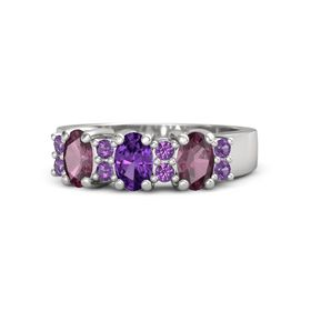 Oval Amethyst Sterling Silver Ring with Amethyst and Rhodolite Garnet