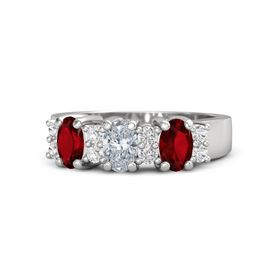 Oval Diamond Sterling Silver Ring with White Sapphire and Ruby