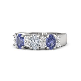 Oval Diamond Sterling Silver Ring with White Sapphire and Tanzanite