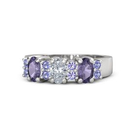 Oval Diamond Sterling Silver Ring with Iolite