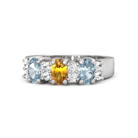Oval Citrine Sterling Silver Ring with Rock Crystal and Aquamarine