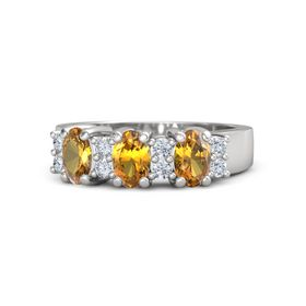 Oval Citrine Sterling Silver Ring with Diamond & Citrine