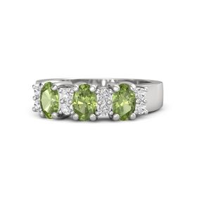 Oval Peridot Sterling Silver Ring with White Sapphire & Peridot
