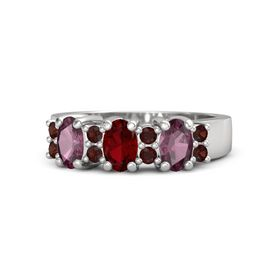 Oval Ruby Sterling Silver Ring with Red Garnet and Rhodolite Garnet