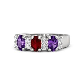 Oval Ruby Sterling Silver Ring with White Sapphire & Amethyst