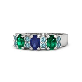 Oval Blue Sapphire Sterling Silver Ring with London Blue Topaz and Emerald