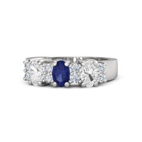 Oval Sapphire Sterling Silver Ring with Diamond & White Sapphire