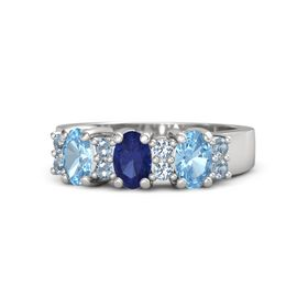 Oval Blue Sapphire Sterling Silver Ring with Blue Topaz