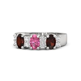 Oval Pink Tourmaline Sterling Silver Ring with White Sapphire and Red Garnet