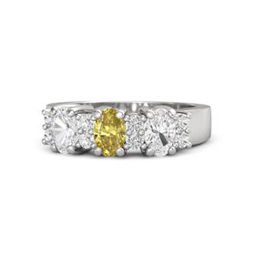 Oval Yellow Sapphire Sterling Silver Ring with White Sapphire